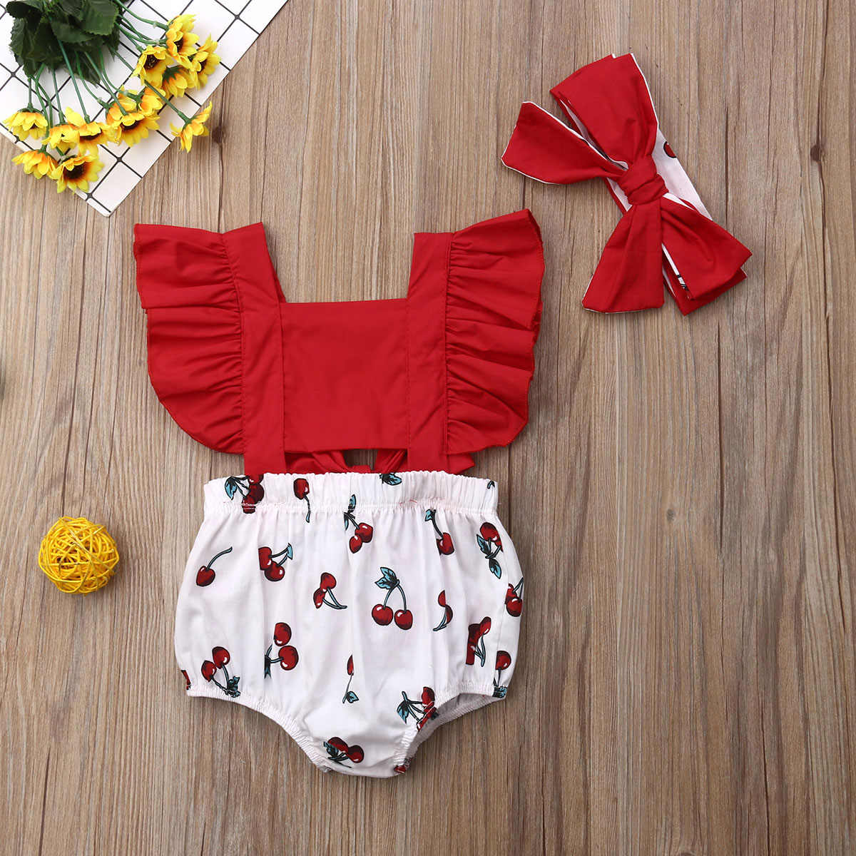 2pcs Newborn Baby Girl Ruffle Cherry Print Bodysuits Headband Sunsuit Outfits Summer Clothes