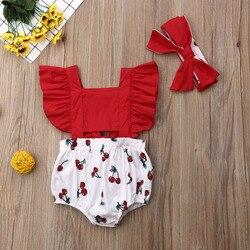 2 шт. для новорожденных; для маленьких девочек с рюшами и с принтом в виде вишен боди повязка на голову, пляжный костюм, одежда летняя одежда д...
