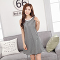 Summer Cotton Nightgown For Women Lovely  Stripped O-Neck Sleep Home Skirt Dress Femme Nightdress Homewear