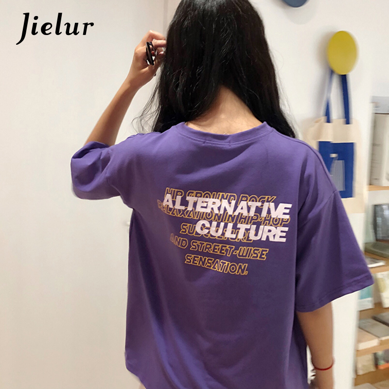 Jielur Letter Printed Streetwear Purple T Shirt for Womem 2018 New Korean Fashion M-XXL  ...
