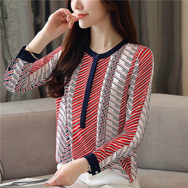 Chiffon Blouse Shirt Striped loose Woman Blouses  2