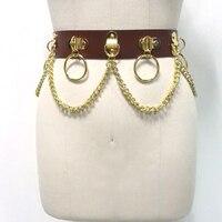 Customized Heavy Duty Handmade Unisex Men Women Brown Gold Leather Waist Belt Punk Bondage Circle Metal Chain Link Waist Strap