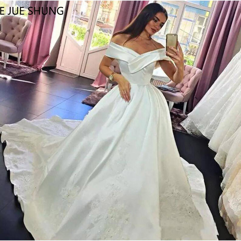 E JUE SHUNG White Satin Off The Shoulder Wedding Dresses 2019 Ball Gown Lace Appliques Simple
