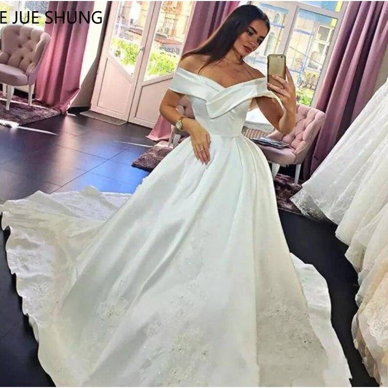 E 覚 SHUNG 白ショルダーのウェディングドレス 2019 ボールガウンレースアップリケシンプルな花嫁のドレスローブ · デ · のみ   グループ上の ウェディング & イベント からの ウェディングドレス の中 1
