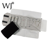 Portable Small Velvet Travel Jewelry Case Roll Bag Organizer For Necklace Bracelet Ring Earrings Display Storage