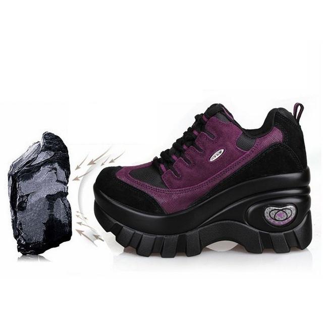 2017 la primavera y el otoño de plataforma de la nueva llegada de las mujeres a prueba de agua zapatos de las cuñas de cuero genuino zapatos de tacón alto mujer bombas A419