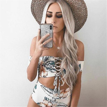 Classical White Halter Two Piece Swimwear Retro Floral Printed Bathing Suit Women Lace Up Cross Bandage High Waist Bikini Set