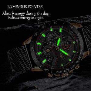 Image 3 - Lige relógios masculinos quartz, marca de luxo, casual, magro, malha de aço, à prova d água, esportivo, relógio 2019