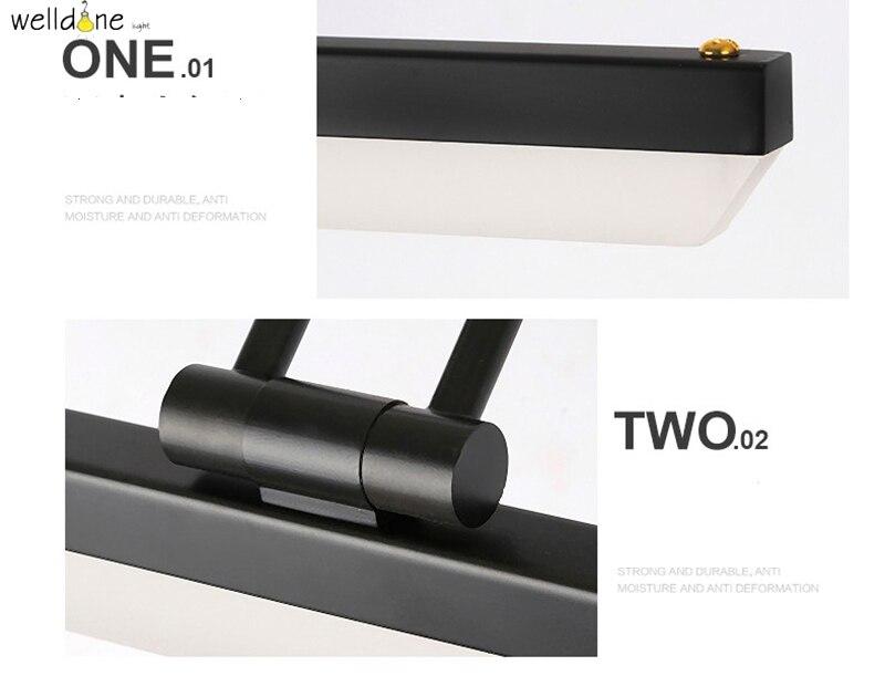 Moderna lâmpada espelho LEVOU preto vaidade do banheiro fixado na parede de luz 58 cm comprimento antinebuloso impermeável frete grátis - 6