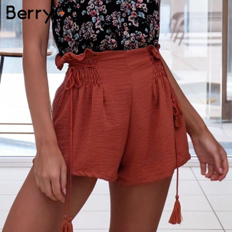 BerryGo Tassel lace up wide leg   shorts   Women casual ruffles loose black   shorts   female High elastic waist summer   shorts   2018 new