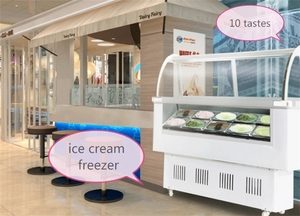 stainless steel ice cream display cabinet Ice Cream Posicle Display Ice cream Refrigerator Display Cabinet with 10 taste