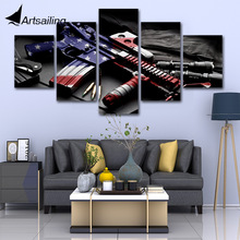 Modular Poster HD Prints Home Decor 5 Pieces Retro Gun Amercian Flag Soldier military Canvas Paintings Wall Art Pictures bedroom цена