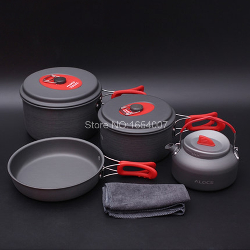 Alocs New Portable Outdoor Hiking Camping Cook Cookware Kettle Pan Pot Set 3-4 People 7pcs Sets Suits Cookware Sets CW-C06S alocs cw c01 outdoor tableware aluminium alloy 1 2 person 7pcs camping cook set portable for outdoor hiking picnic
