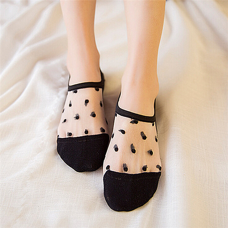 1 Pair fashion women's thin cotton glass fiber socks slipper cute candy color Silk dot invisible boat socks