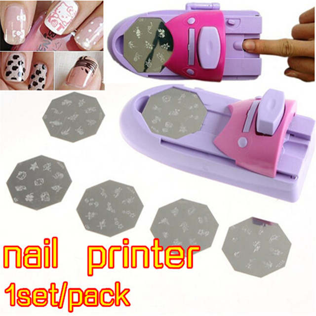 Placeholder Professional Nail Stamp Machine Printer Stamping Tool Beauty Salon Equipment For With 6 Pattern