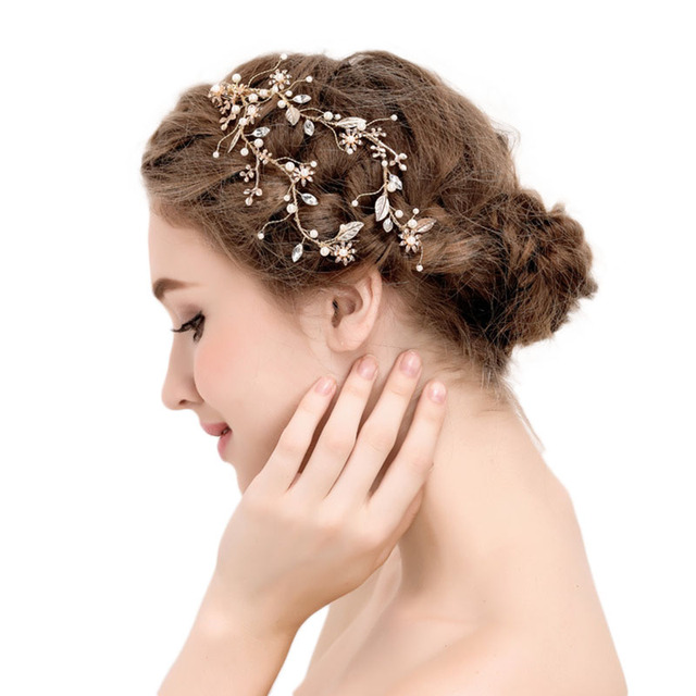 442063e2c3f9 Exquisite Gold Fiore Foglia Donne di Cristallo Perle Vite Della Fascia Dei  Capelli Copricapo Da Sposa