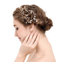 Exquisite Gold Flower Leaf Women Crystal Pearls Wedding Hair Vine Headband Bridal Headpiece Hair Accessories SL