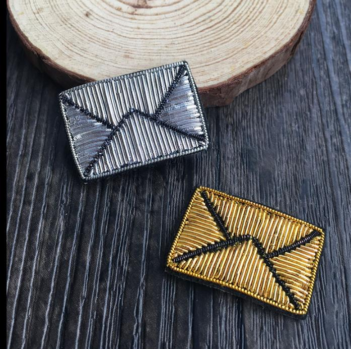 Diy Handmade Embroidered Patch: Envelope Emboridered Patch Brooch Indian Silk Wire