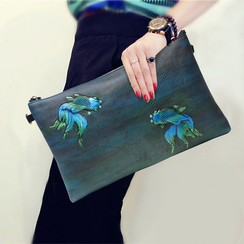 2018 New Style Goldfish Pattern Envelope Purse Genuine Leather Vintage Clutch Wallet Women Party Shopping Fashion Shoulder Bags image