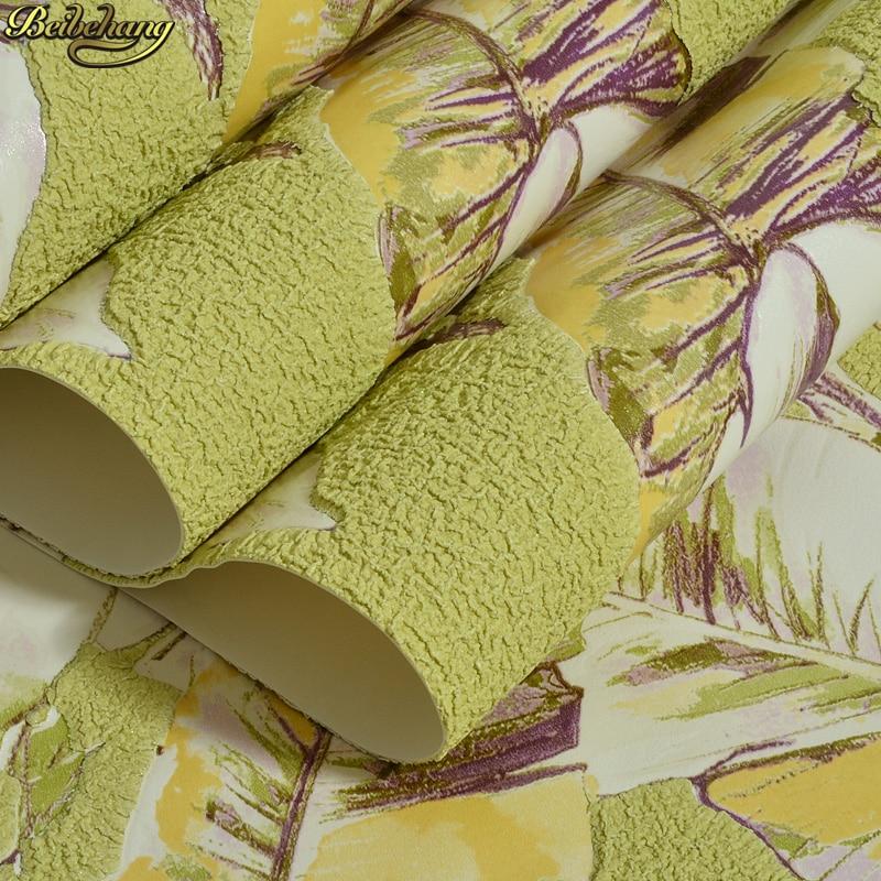 beibehang Green Southeast Asian green banana leaf 3D deerskin background wallpaper papel de parede para quarto wall paper beibehang papel de parede southeast
