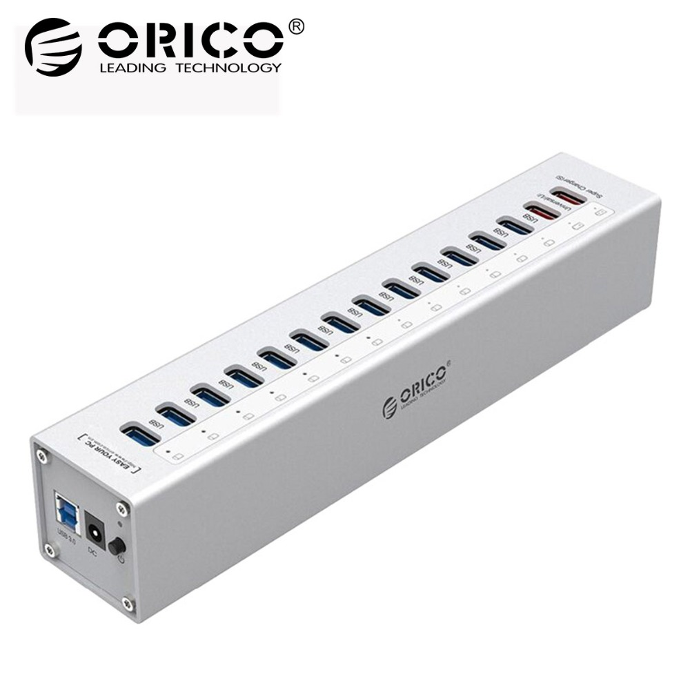 ORICO Aluminum 13 Ports Multi USB3.0 HUB Splitter with 5V2.4A/5V1A Charger Ports with 3.3Ft USB3.0 Cable-Silver FOR Laptop