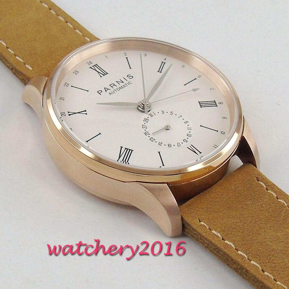 2019 New Arrival 42mm PARNIS biała tarcza cyframi rzymskimi SS Case klasyczny Top marka luksusowe ST automatyczny ruch mężczyźni zegarki damskie w Zegarki mechaniczne od Zegarki na  Grupa 3