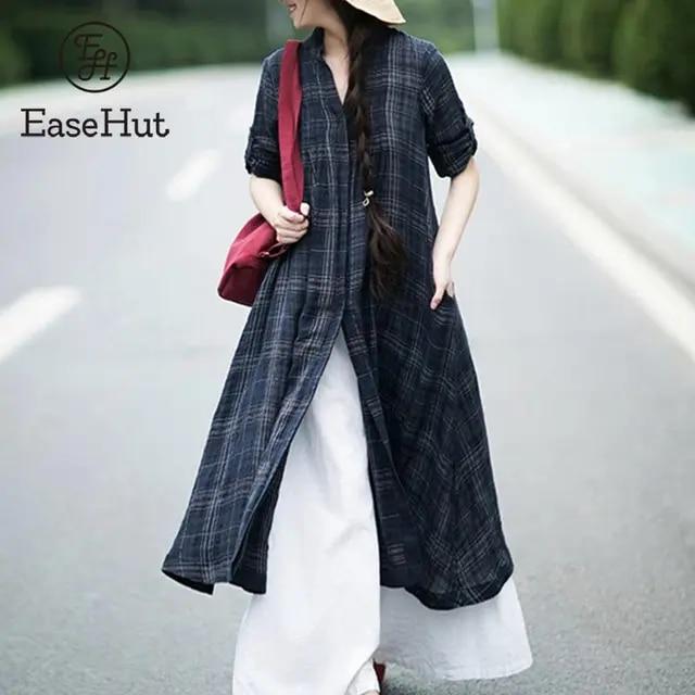 EaseHut 2019 New Summer Fashion Women Plaid Blouse Kimono Cardigan Stand Collar Short Sleeve Button Plus Size Casual Tops Blusas