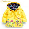 Kindstraum 2017 nova marca meninas jaqueta ternos primavera & outono crianças flor crianças casaco impermeável com capuz esportes outerwear, mc371