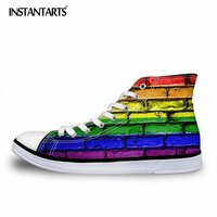 INSTANTARTS Hot Selling Spring High Top Men Vulcanize Shoes Colorful Paint Printed Canvas Flat Shoes for Boys Student Male Shoes