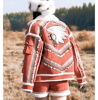 Winter Women Vintage India Totem Embroidery Shell Tassel Loose Thicken Warm Corduroy Lambswool Short Jacket