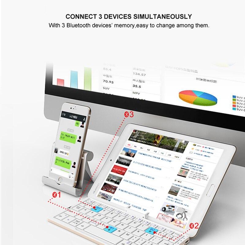 ipad mini black B.O.W Ultra Slim Mini Foldable Bluetooth Keyboard For iPhone X 8 7 6S 6 Plus, iPad Mini/Pro / Air, Samsung Smartphones, Black (4)