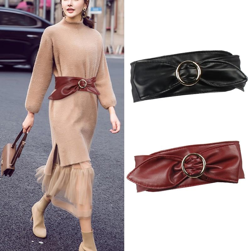 Women Wide Corset Waistbands HOT Golden Metal Buckle Cummerbund Apparel Accessories Black Soft Leather Waistband Belts For Woman