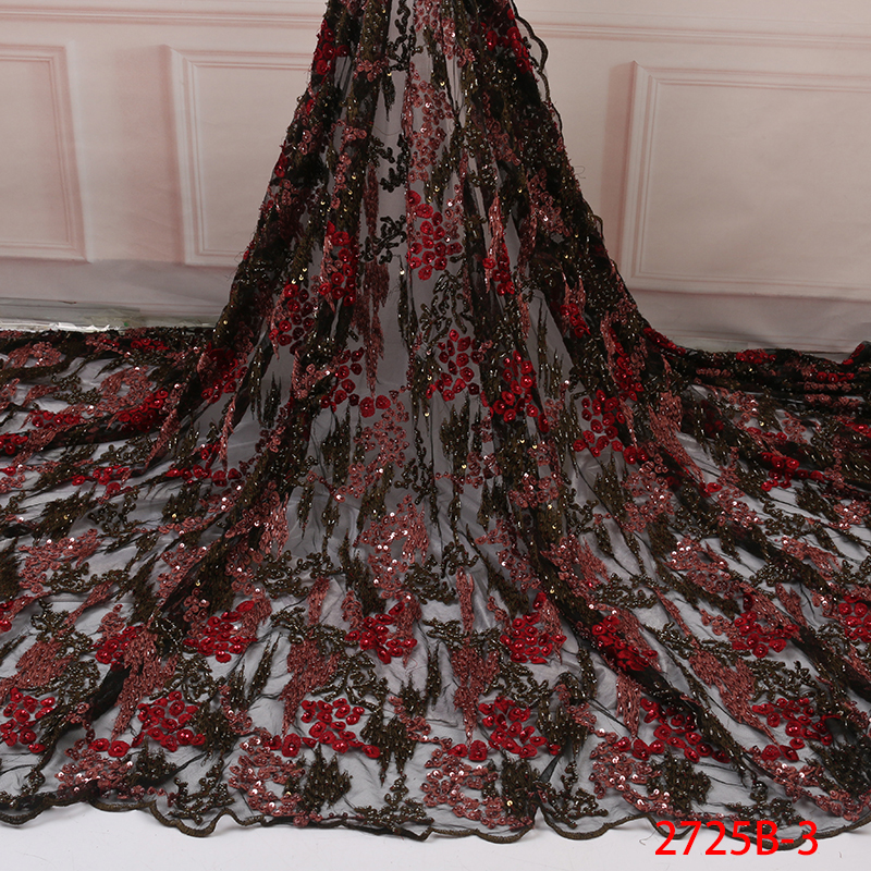 Beaded French Laces Fabrics High Quality,Fashion African Tulle Lace Fabric,Newest Nigeria Embroidered Lace With Sequin KS2725B-3