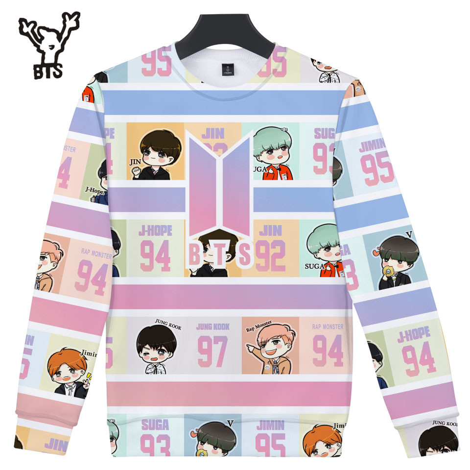 BTS 2018 3D Korean Hot Sale Women/men Sweatshirt Fans Hip Hop 3D Capless Hoodies Popular Fashion Design Long Sleeves Plus Size