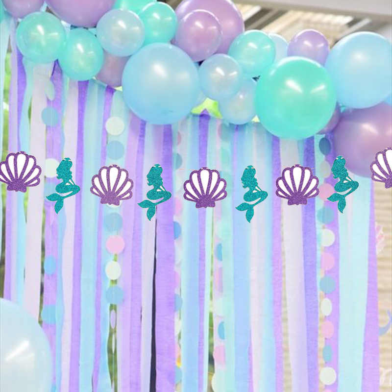 Mermaid Glitter Banner Mermaid Birthday Party Decoration Purple Shell Garland Banner Ocean Girl Under The Sea Party Decor Supply