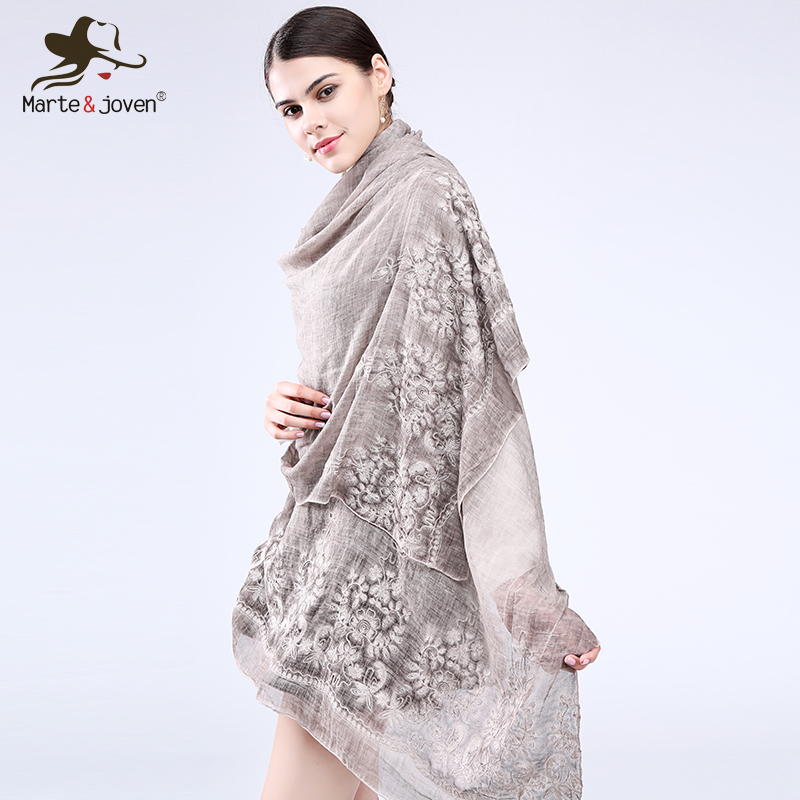 Marte&Joven New Vintga Floral Embroidery Scarf And Wrap For Women Chinese Style 200*95 Cm Overlength Retro Flower Beach Shawl