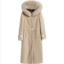 Winter Women Real Fur Coat Female Long Wool Sheepskin Natural High Quality Outerwear Wool fur fox fur hooded Warm Ladies Jacket