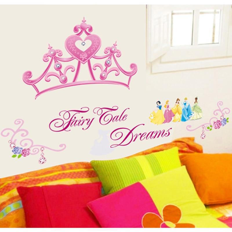 Aparador Moderno Branco ~ Crown Princess Frozen Vinyl Wall Sticker Wallpaper for