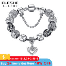 ELESHE Fashion Silver Color Heart Charms Bracelet Bangle for Women DIY 925 Crystal Beads Fit Original Bracelets Women Jewelry(China)