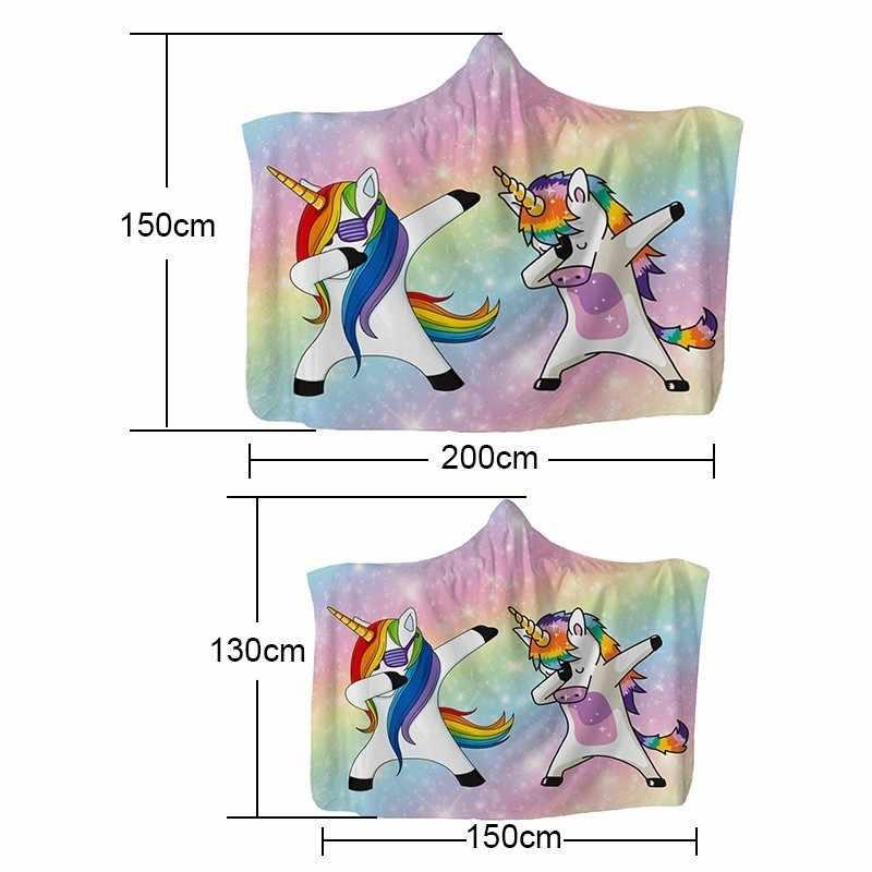 Dibujos Animados unicornio invierno Wearable Hoodie manta niños adultos suave felpa polar con capucha manta 45*45cm funda de cojín de poliéster regalo