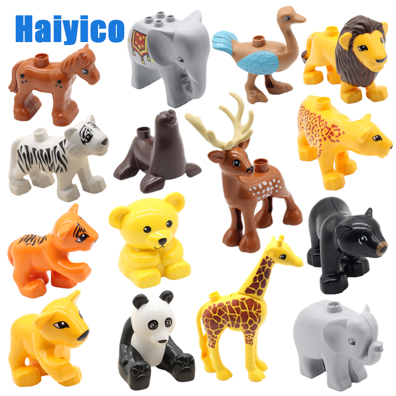 Zoo Animals Series Big Building Blocks Parts Compatible Duplos Bricks Bear Tiger Elephant Panda Educational Children Toys Gift