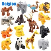 Blocos de construção de animais do zoológico, peças compatíveis com duplos, tijolos, urso, tigre, panda, brinquedos educativos para crianças, presente