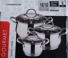 casseroles cookware set HIGH QUALITY 3 casseroles pots and  pans  COOKING POT stainless steel cookware set