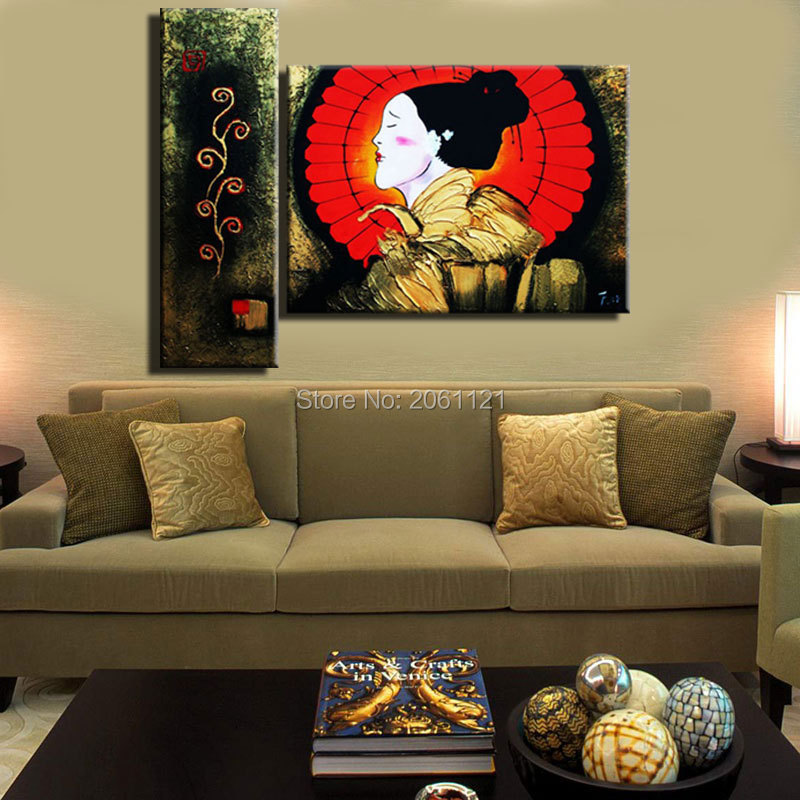 traditional japanese figure painting hand painted artwork japan wall decoration canvas oil painting for hotel restaurant - Traditional Hotel Decoration