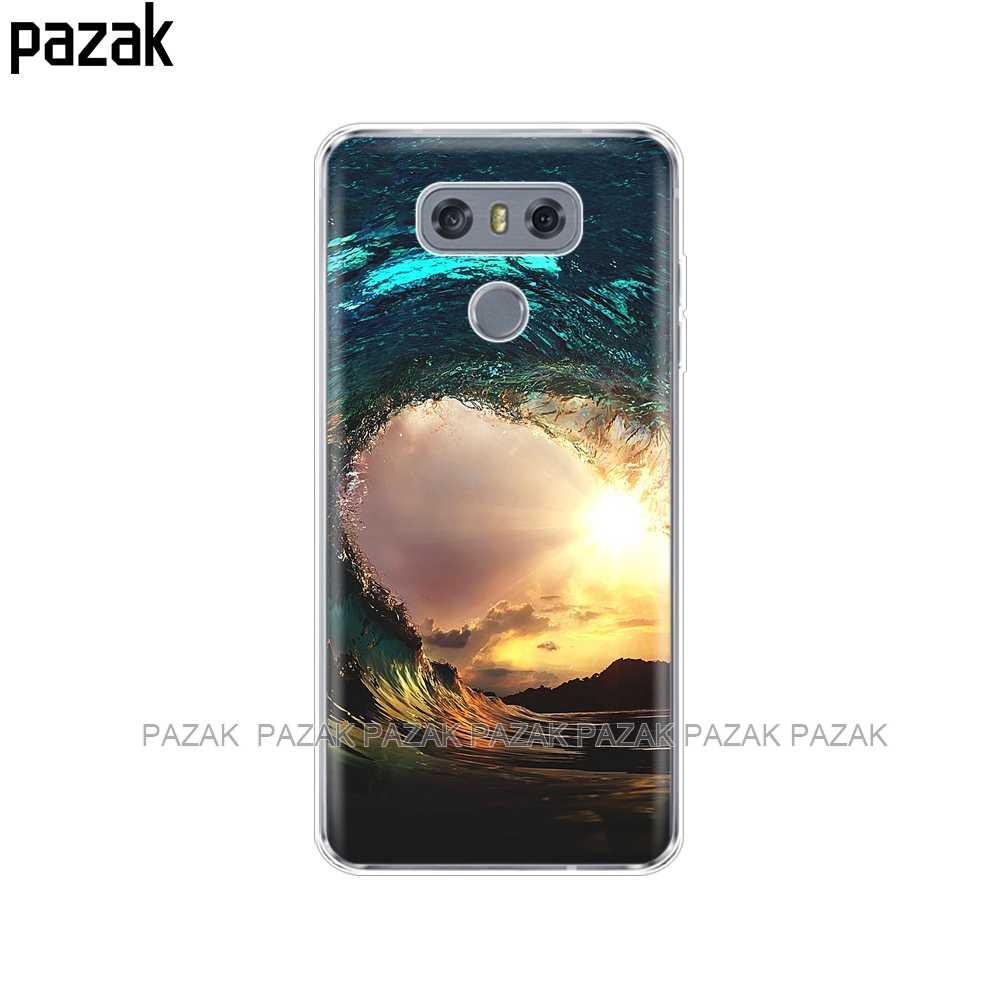 غطاء من السيليكون الهاتف غطاء ل LG G7 Q8 Q6 G6 البسيطة G5 V30 V7 V9 k10 k8 X الطاقة 2 تصفح الغروب البحر
