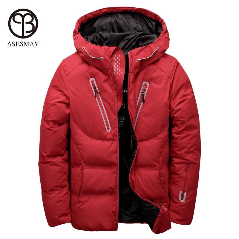 Asesmay de luxe hommes d'hiver veste duvet de canard blanc parka casual plume d'oie hommes de manteau d'hiver capuche épais chaud et imperméable vestes