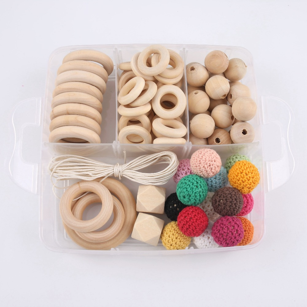 1Set DIY Wood Beads Crochet Beads Handmade Making Necklace Bracelet DIY Crafts Wooden Teether Toys Nurse Gifts Baby Accessories