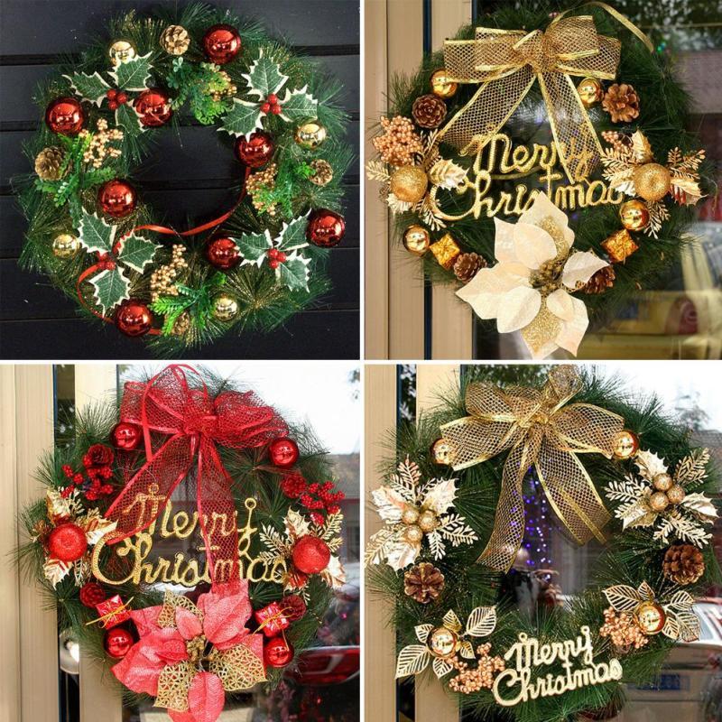 Christmas Wreath Garland Hanging Plate Xmas Ornaments Window Door Decor Christmas Gift festive decoration s5