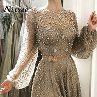African Split Beading Evening Dresses Turkish Arabic Aibye Elegant Pearls 2018 Muslim Dubai Formal Prom Gowns Moroccan Kaftan