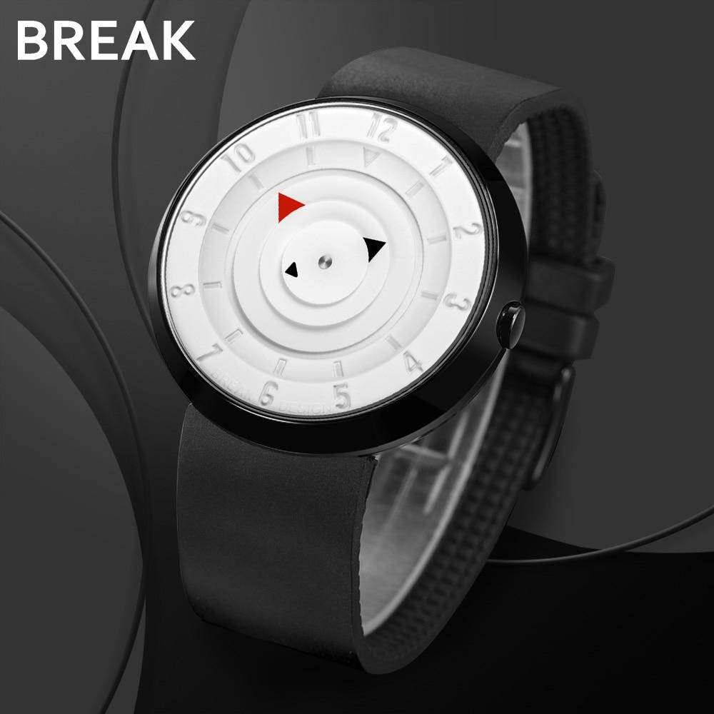 BREAK Men Women Unisex Unique Design Cool Wrist Watch Fashion Original Creative Waterproof Quartz Sport Rubber Strap Watches